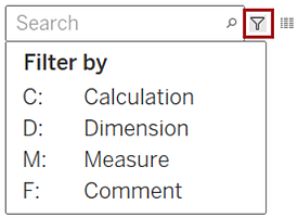New feature tableau 2020.3 - Search improvements in Data pane