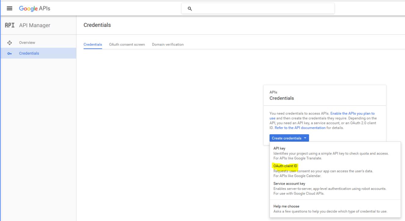 2. Creat OAuth client - sub