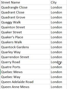 Street Excel