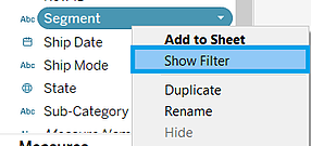Quick filter in Tableau