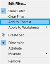 context option Tableau