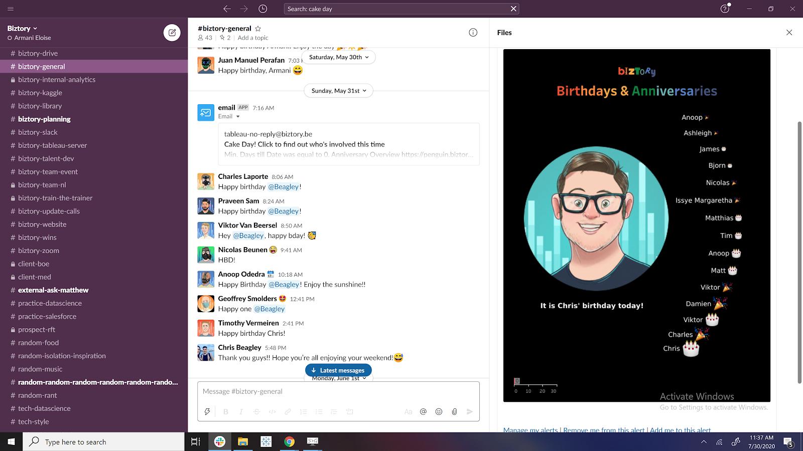 Biztory Anniversary overview in Slack
