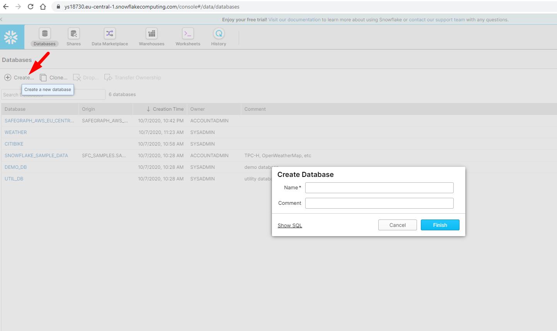 Create Snowflake Database