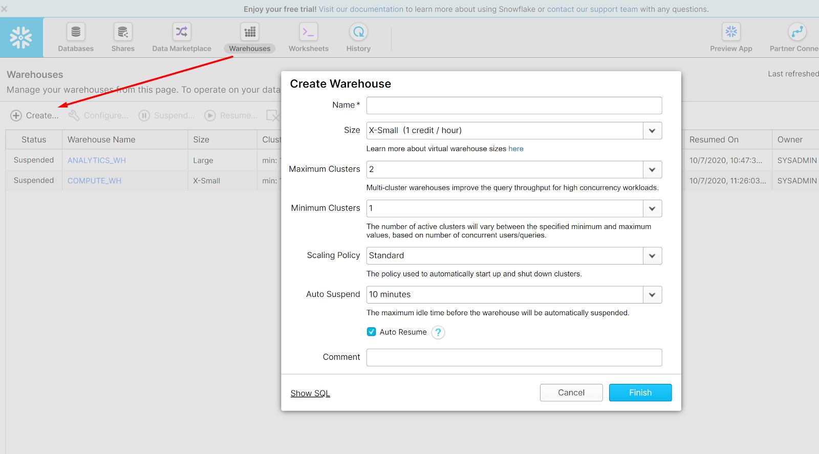 Create your Snowflake warehouse