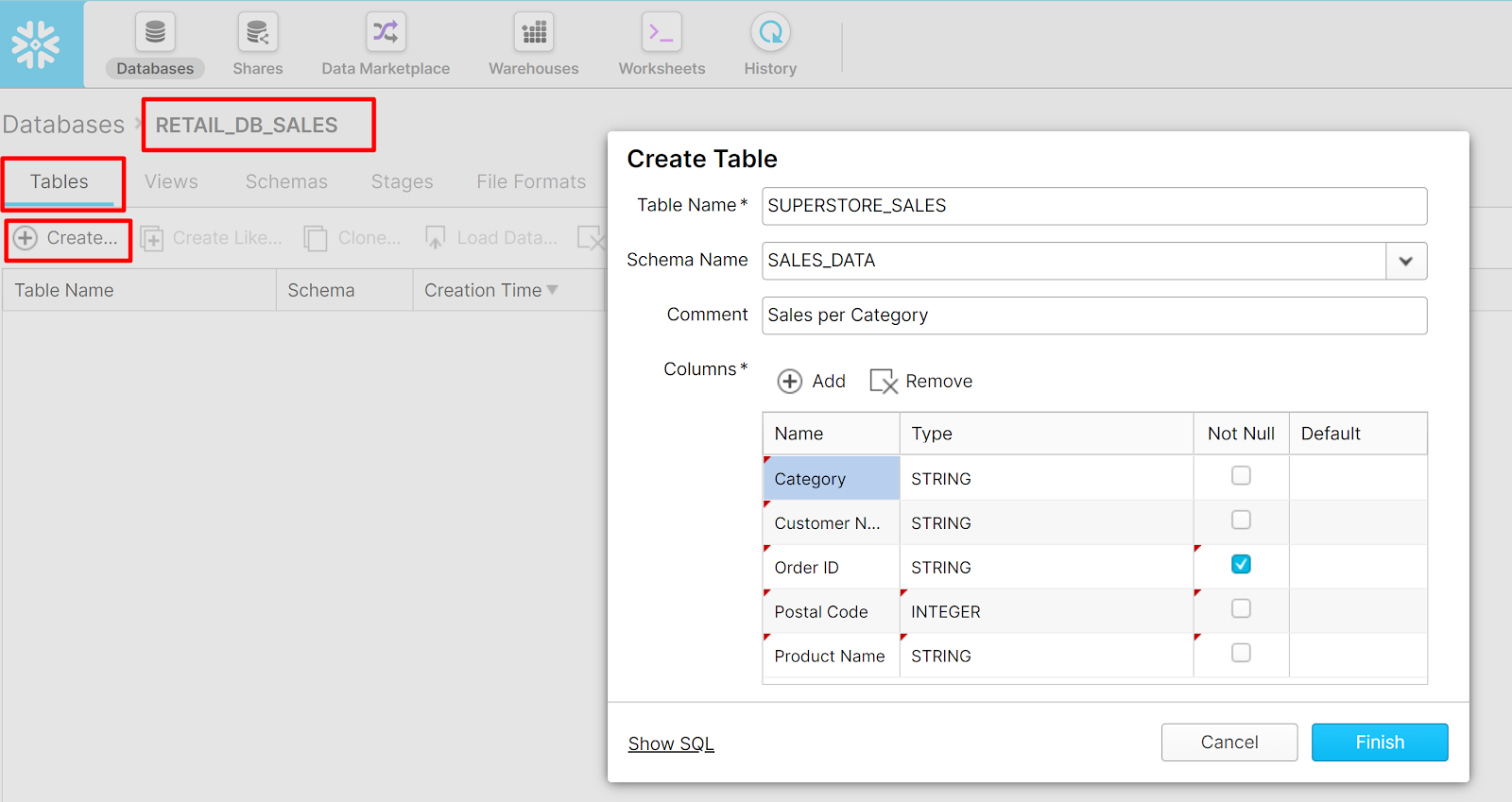 Create table in Snowflake