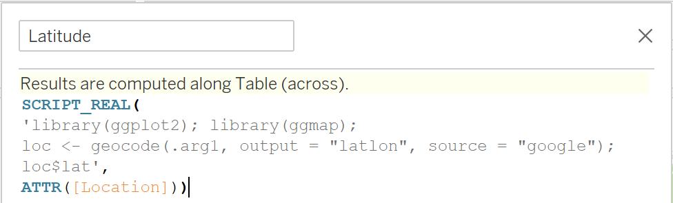 Geocoding Tableau - Latitude Calc